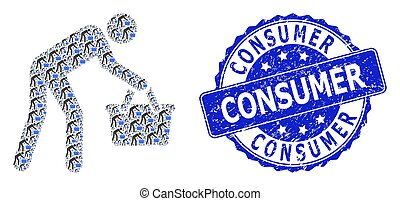 Consumer rubber round seal and vector recursive collage tired buyer persona. Blue stamp seal has Consumer text inside round shape.
