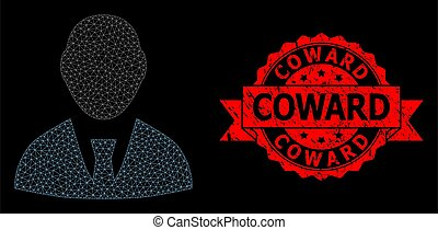 Mesh web boss on a black background, and Coward textured ribbon seal imitation. Red seal contains Coward text inside ribbon. Vector model created from boss icon with mesh. Frame mesh polygonal boss.