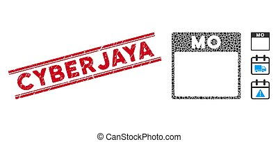 Textured Cyberjaya Line Stamp with Mosaic Monday Calendar Page Icon