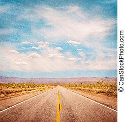 Textured Desert Road - An empty desert road with paper...