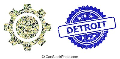 Textured Detroit Stamp Seal and Military Camouflage Composition of Gear Wheel