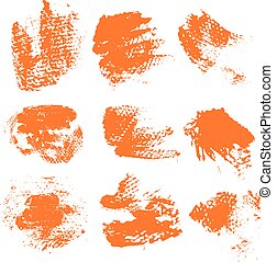 Textured dry brush strokes of orange paint on white background 1