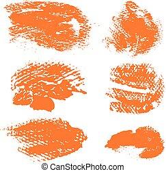 Textured dry brush strokes of orange paint on white background