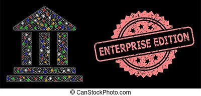 Textured Enterprise Edition Stamp and Net Bank Building with Glitter Dots