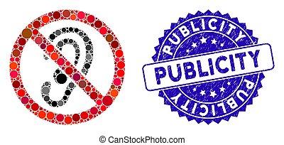 textured, escutar, ícone, publicidade, não, selo, colagem
