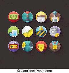 Textured Flat Icons Set 2