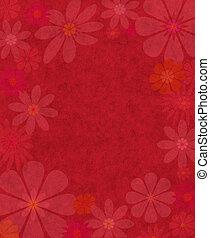 textured, flores, en, papel