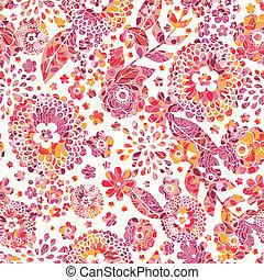 textured, flores, seamless, padrão, fundo