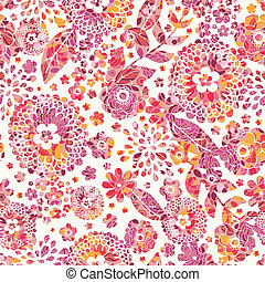 Textured flowers seamless pattern background - Vector...