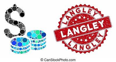 textured, geldmünzen, mosaik, siegel, langley, dollar