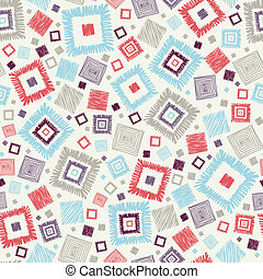 Textured geometric squares seamless pattern background -...