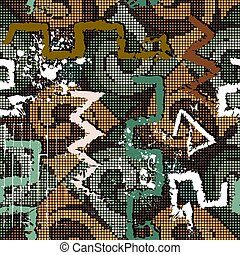 Textured graffiti style seamless pattern. Digital halftone colorful background. Repeat vector mosaic backdrop. Hand drawn grunge symbols, signs. Dirty geometric abstract ornament. Rough texture