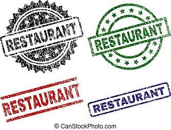 textured, gratté, timbres, cachet, restaurant