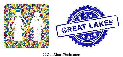 Textured Great Lakes Stamp Seal and Multicolored Mosaic Weds...