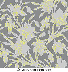 Textured grey silhouettes of Daffodils flowers on Ultimate Gray Background.