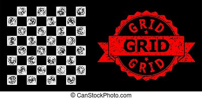 Textured Grid Stamp Seal and Bright Web Network Chess Board with Lightspots