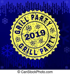 Textured GRILL PARTY Stamp Seal on Winter Background