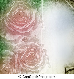 Textured grunge background with  roses and space for text