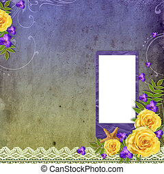 Textured grunge background with yellow rose and space for text