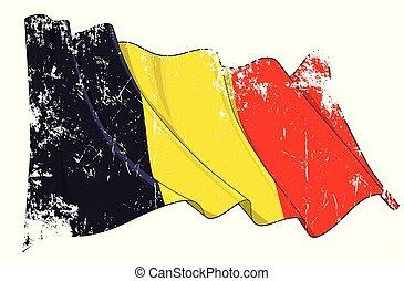Textured Grunge Waving Flag of Belgium