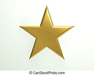 textured, gwiazda, złoty, ikona