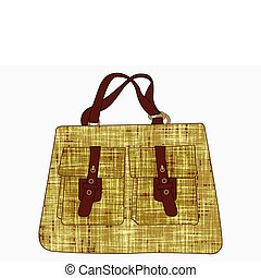 textured hand bag against white background, abstract vector...