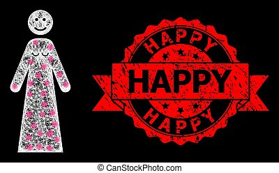 Textured Happy Stamp and Bright Polygonal Mesh Happy Woman with Lightspots