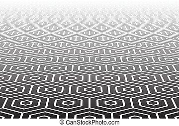 textured, hexagones, surface.