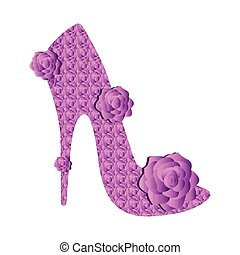 Textured high heel shoe with roses