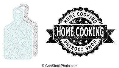 Textured Home Cooking Ribbon Watermark and Mesh Wireframe Cutting Boards