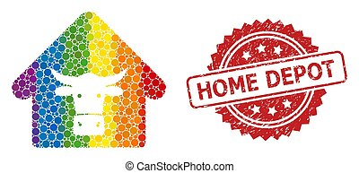 Textured Home Depot Stamp and Rainbow Cow Farm Collage