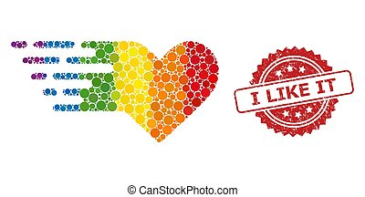 Textured I Like It Stamp Seal and Bright Colored Valentine ...