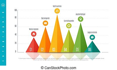 Textured infographic bar chart template with 6 options