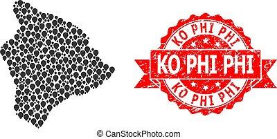 Textured Ko Phi Seal and Marker Mosaic Map of Hawaii Big ...