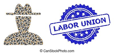 Labor Union textured seal imitation and vector fractal collage peasant persona. Blue stamp seal includes Labor Union title inside rosette.