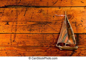textured, legno, barca vela, rame