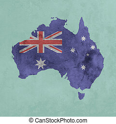 Textured map of Australia with flag
