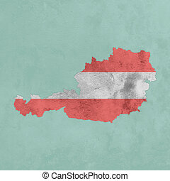 Textured map of Austria with flag