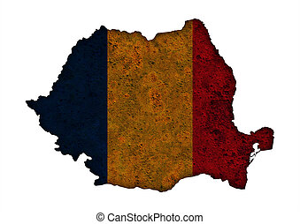 Textured map of Romania