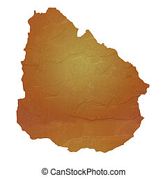 Textured map of Uruguay map with brown rock or stone texture...