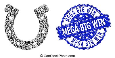 Mega Big Win rubber round stamp seal and vector recursive collage horseshoe. Blue stamp has Mega Big Win title inside round shape. Vector mosaic is formed of recursive horseshoe pictograms.