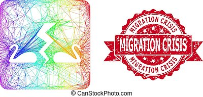 Spectrum colored network divorce swans, and Migration Crisis corroded ribbon seal. Red stamp seal has Migration Crisis text inside ribbon.Geometric wire carcass 2D network based on divorce swans icon,