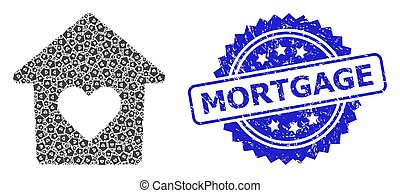 Textured Mortgage Seal Stamp and Recursion Lovely House Icon Mosaic