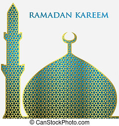 Textured mosque card in vector format.