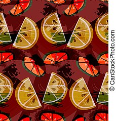 Textured orange and lime slices grudge brown