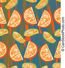 Textured orange and lime slices on blue