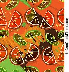 Textured orange and lime slices on scribbled orange