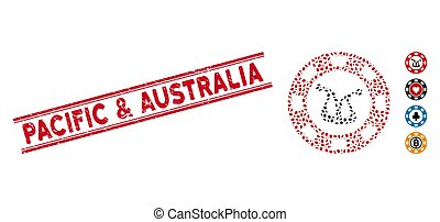 Textured Pacific & Australia Line Seal with Collage Joker Casino Chip Icon