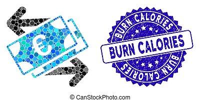 textured, pagamentos, calorias, notas, ícone, queimadura, mosaico, euro, selo