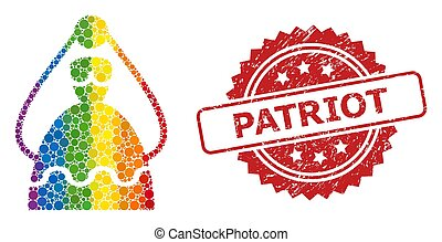 Textured Patriot Seal and Bright Colored Bride Collage - ...